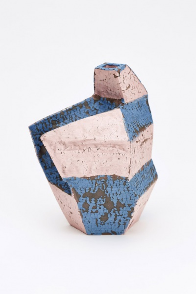 blue and pink cracked slip vase